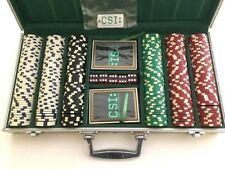 CSI Las Vegas TV Series Promo POKER SET Cards, 300 Chips, Dice Aluminum Case NEW