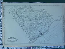 1922 LARGE AMERICA MAP ~ SOUTH CAROLINA MILEAGE RAILROADS LINES ~ RAND MCNALLY