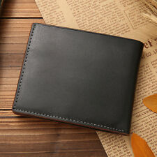Black Mens Business Genuine Leather Bifold Wallet Credit Card Coin Holder Purse