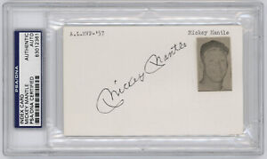 Mickey Mantle Signed Index Card PSA / DNA Certified Authentic
