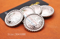 30mm 10X Bling Silver Flower Engraved Leathercraft Belt Wallet Concho Screw back