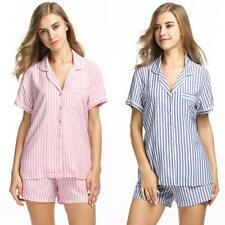 Ekouaer Damen Beiläufige 2 Stück Pyjama Set Umlegekragen Kurzarm Knopf juli
