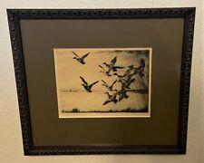Original FRANK BENSON Pencil Signed Sporting Art Etching - Darkening Sky, 1925