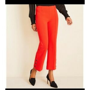 Ann Taylor The Kick Crop Pants High Rise Red Orange Size 4 Stretch NWT