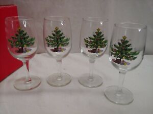 Set Of 4 Nikko Christmas Stemware 7oz Wine Goblets In Box Lovely Happy Holidays