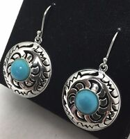 Brand New QVC Dangle hook Turquoise earrings silver toned gift boxed