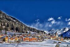 ALPINE SKI RESORT WINTER VILLAGE CANVAS PICTURE POSTER PRINT UNFRAMED 6503