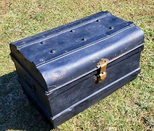 Antique Anthony Horden & Sons Metal Trunk