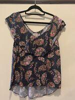 Portmans size 10, navy floral blouse, frill neckline, excellent cond.