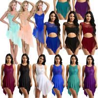 Women Lyrical Dress Contemporary Ballet Dance Leotard Gymnastics Skirt Costumes