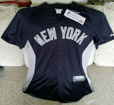 New York Yankees Majestic Authentic Collection Blue & Gray Cool Base Jersey - LG