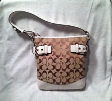 COACH C SIGNATURE LOGO SHOULDER HAND BAG BROWN & WHITE LEATHER - NO. L05M-3577