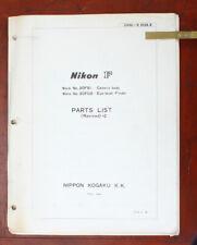 NIKON F PARTS LIST, 6/73/101377
