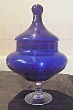 "vintage 1960's decorative cobalt blue lidded stemmed balloon glass ~ 10"" tall"