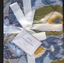 New Pair of Pottery Barn Milo Blue Patchwork Standard Pillow Quilt Shams