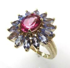 10K YELLOW GOLD GENUINE MARQUISE TAZANITE & OVAL PINK TOPAZ RING SIZE 7 - 5.8gr