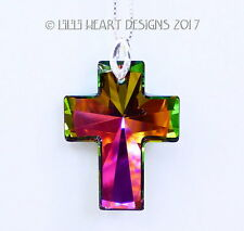 m/w Swarovski RARE Peacock Color Cross Sterling Pendant Lilli Heart Designs