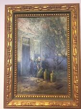 """ANTIQUE PAINTING """"MIlk Maid"""" Holland Original by E TAYLOR SNOW Framed"""