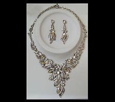 Wedding Crystal Rhinestone Earrings Necklace Prom Bridal Bridesmaid Jewelry Set