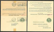 1939 Postal Stationery Reply Postcard - California State Sales Tax