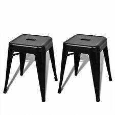 2 stapelbare krukken (zwart) kruk krukje krukkenset stapelbaar metaal staal