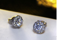 4Ct Round Cut VVS1/D Diamond Push Back Halo Stud Earrings 14K White Gold Finish