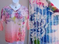 CJ Banks watercolor pleats top blouse plus size 1x EASTER SPRING floral shirt