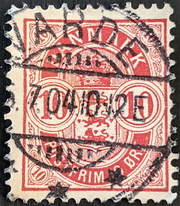 Stamp Denmark SG98 1884 10ore Coat of Arms Used