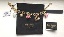 JUICY COUTURE BLACK LABEL CHARM BRACELET PINK PAVE HEART LOCKET BAG DIAMOND RING