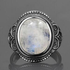 Vintage 925 Silver Natural Rainbow Moonstone Antique Design Ring Wholesale !!
