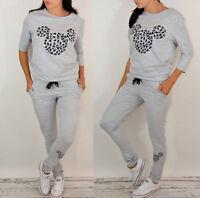 Women Ladies Cartoon Mouse 2Pcs Tracksuit Hoodies Sweatshirt Pants Set Sportwear