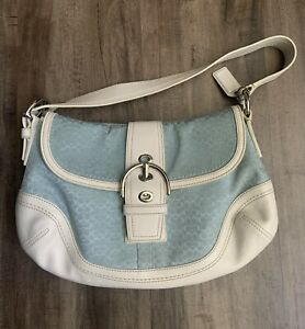 COACH JACQUARD SIGNATURE SATCHEL BAG BLUE W/WHITE LEATHER TRIM K0749-F10926 Used