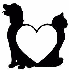 Chien et chat cœur autocollant/Autocollant