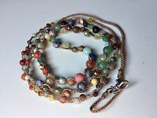 "NWOT CHAN LUU 42"" Multi Color Semiprecious Stone Necklace Wrapped Bracelet Boho"
