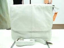 NWT Latico X- Body Metallic White Leather Flap Pocket /Back Zip Pocket