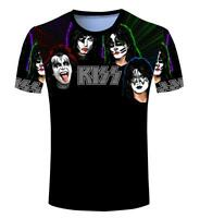 New Fashion Womens/Mens Rock Band Retro Kiss Funny 3D Print T-shirt BK97