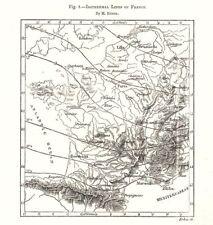 Isotérmico líneas de Francia. bosquejo mapa 1885 Viejo Antiguo Vintage Cuadro De Plan