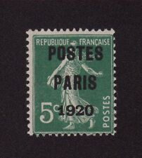 PREO 024 N°24 5 C VERT TYPE SEMEUSE CAME POSTE PARIS 1920 LUXE SANS CHARNIERE