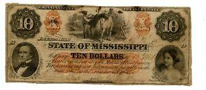 1862. $10    Jackson,  State of Mississippi