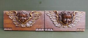 2 Nice Antique wood carving with Cupido's/Angel heads 18hth C. Dutch. panel