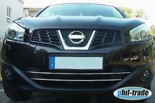 Chrom Grill Leisten Stoßstange vorne Edelstahl Nissan Qashqai (+2) BJ 2010>2013