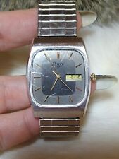 VINTAGE PULSAR MENS SILVERTONE EXPANSION WATCH-DIGITAL & ANALOG-ALARM-WR