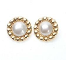 VINTAGE CHANEL FRANCE OVERSIZE FAUX PEARL CLIP STYLE EARRINGS IN GOLD TONE METAL
