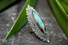 Vintage Multi-Color Topaz Gemstone Wedding Engagement 925 Silver Ring Size 6-10