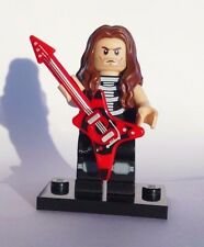 CUSTOM 100% LEGO ROCKER HEAVY METAL ROCK STAR w GUITAR skeleton shirt NO PAINT