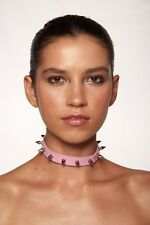 Pink Faux Metal Spike Leather Punk Rock Choker Costume Accessory Unisex Cosplay