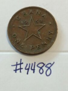 🇬🇭🇬🇭🇬🇭 1958 Ghana 1 Penny Coin 🇬🇭🇬🇭🇬🇭