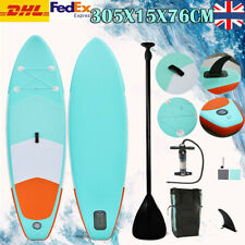 10ft Inflatable SUP Stand Up Surfboard Paddle Longboard Adult W/ Accessories UK