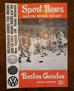 1963-64 Boston Bruins Sport News Official Hockey Program Boston Garden Vintage