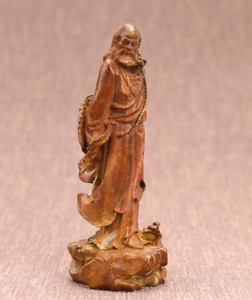 Old China Royal hand-carved Pure copper Bodhidharma antique Buddha statue
